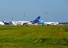 Air Transat airplanes and garage. MONTREAL, CANADA - AUGUST 28, 2017 : Air Transat planes. Air Transat is a Canadian leisure airline based in Montreal Quebec royalty free stock photo