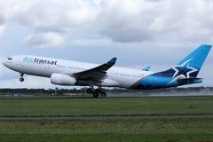 Air Transat jet landing on the runway stock photo
