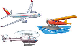 Air transport. An illustration of several basic types of air transportation Stock Images