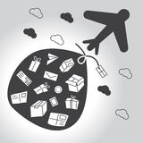 Air transport black and white version. Air transport of packages, letters and mail. Black and white version Stock Illustration