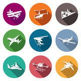 Air transport and the device Icons Set. Vector Illustration. Royalty Free Stock Images