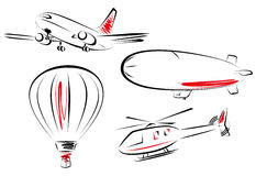 Air transport icon set. A set of various flying transportation Royalty Free Stock Photos