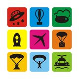 Air transport icons Stock Photo