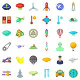 Air transport icons set, cartoon style. Air transport icons set. Cartoon style of 36 air transport vector icons for web isolated on white background Stock Image