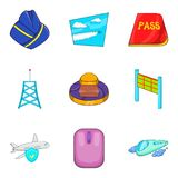 Air transport icons set, cartoon style. Air transport icons set. Cartoon set of 9 air transport vector icons for web isolated on white background Royalty Free Stock Photos
