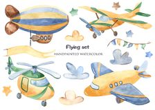 Free Air Transport In Watercolor. Stock Images - 142400894