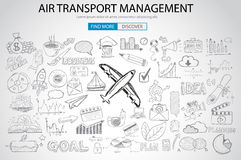 Air Transport Management Concept with Doodle design style Royalty Free Stock Photography