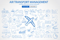 Air Transport Management Concept with Doodle design style Royalty Free Stock Images