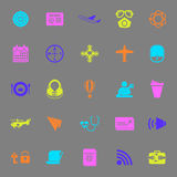 Air transport related color icons on gray background Royalty Free Stock Photos
