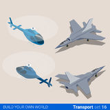 Air transport set. Helicopter and air force combat. Fighter plane. Flat 3d isometry isometric style web site app icon set concept vector illustration. Creative Royalty Free Stock Photography