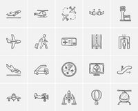 Air transport sketch icon set. Royalty Free Stock Image