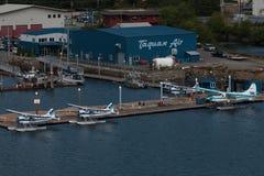 Air Transport Terminal. Ketchikan, AK, USA - May 24, 2016: Passenger Terminal facilities of Taquan Air flightseeing services and air tranpost n Ketchikan, Alaska Stock Image