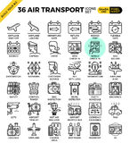 Air Transport & Travel outline icons Royalty Free Stock Photos