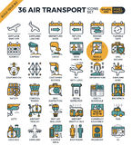 Air Transport & Travel outline icons Royalty Free Stock Images