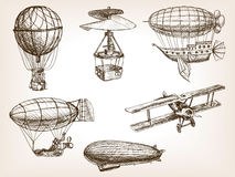 Air transport vintage hand drawn sketch vector Royalty Free Stock Image