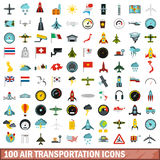 100 air transportation icons set, flat style. 100 air transportation icons set in flat style for any design vector illustration Royalty Free Stock Photography