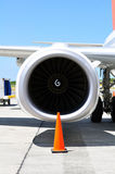 Air transportation: Jet engine detail Stock Photo