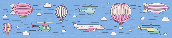 Air transportation outline horizontal illustration. Part four. Stock Photo