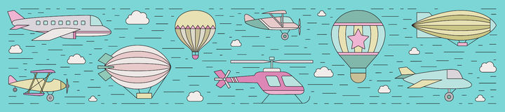 Air transportation outline horizontal illustration. Part one. Stock Photography