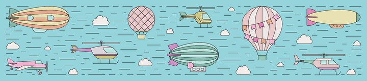 Air transportation outline horizontal illustration. Part three. Royalty Free Stock Photo