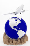 Air transportation in USA. The airplane as a symbol of international transport. A plane flies over America Stock Images