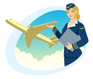 Air Travel. Air hostess presenting her company's services. No transparency used. Basic (linear) gradients used for the sky Stock Photo