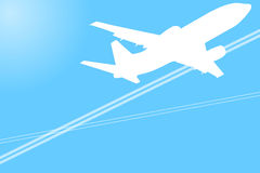 Air travel. Picture of a plane against a contrails of other aeroplanes Royalty Free Stock Photo