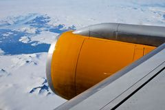 Air travel above Greenland Stock Image