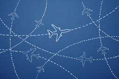 Air Travel. Airplane routes on the blackboard Royalty Free Stock Photography