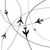 Air travel. Airplanes on their destination routes. Vector Illust Royalty Free Stock Photography