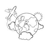 Air travel around the earth, sketch. Air travel with flying airplane and earth globe with clouds and sun. Travel concept, sketch style Royalty Free Stock Photos