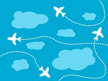 Air travel background. Airline routes, sky and clouds illustration Royalty Free Stock Photography