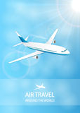 Air travel background with white plane Royalty Free Stock Images