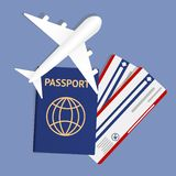 Air travel banner with passport - vacation concept design. Banner with airplane and vacation tickets. Vector. Illustration. Banner with two boarding pass stock illustration