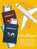 Air travel banner with world globe airline tickets - international vacation concept. Vector illustration Stock Photos