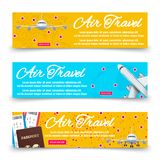 Air travel banners collection - international vacation banners Stock Photo