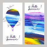 Air Travel Banners. Air travel vertical banners set with hot air balloons silhouettes on painted background isolated vector illustration Stock Image