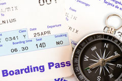 Air travel boarding pass and compass Stock Images