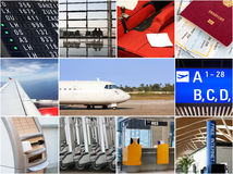 Air travel collage. With airport facilities Stock Photos