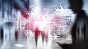 Air travel concept. Airplane on world map Blured Business background. Air travel concept. Airplane on world map Blured Business background stock illustration