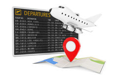 Air Travel Concept. Cartoon Toy Jet Airplane and Folded Abstract. Navigation Map with Target Pin near Airport Departures Table on a white background. 3d Royalty Free Stock Image
