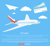 Air travel concept flying plane Royalty Free Stock Image