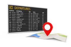 Air Travel Concept. Folded Abstract Navigation Map with Target P Stock Image