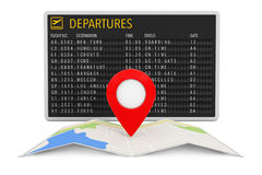 Air Travel Concept. Folded Abstract Navigation Map with Target P Royalty Free Stock Photos