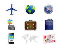 Air travel concept icon set illustration Royalty Free Stock Photos