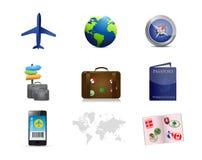 Air travel concept icon set illustration Royalty Free Stock Photos