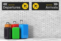 Air Travel Concept. Large Multicolour Polycarbonate Suitcases ne. Ar Airport Departures and Arrivals Information Panel in front of Brick Wall. 3d Rendering Stock Photography