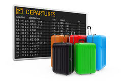 Air Travel Concept. Large Multicolour Polycarbonate Suitcases ne Stock Image