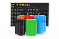 Air Travel Concept. Large Multicolour Polycarbonate Suitcases ne. Ar Airport Departures Table on a white background. 3d Rendering Stock Photos