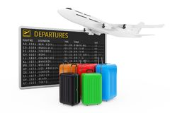 Air Travel Concept. Large Multicolour Polycarbonate Suitcases an. D White Jet Passenger`s Airplane near Airport Departures Table on a white background. 3d Royalty Free Stock Image